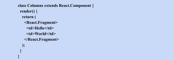 react fragments class column extensds
